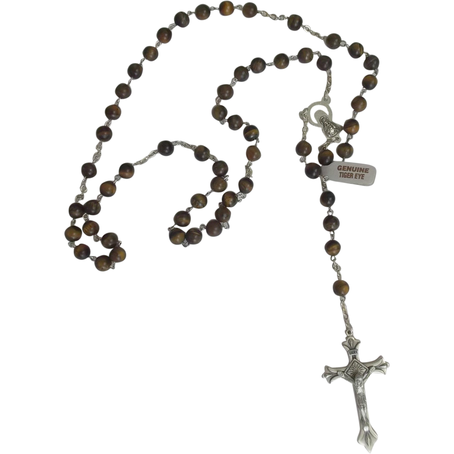Genuine Tiger's Eye Rosary with Silvertone Crucifix marked Italy