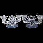 Fostoria Glass American Twin Candlestick Pair