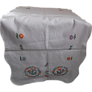 Bureau Scarf Runner Hand Embroidered Flowers Vintage Textile