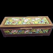 Brass Enamel  Stamp Box Enameled Flowers China Vintage - Red Tag Sale Item