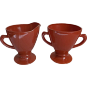 Hazel Atlas Glass Vintage Ovide Sugar Creamer Moderntone Colors Coral Rust