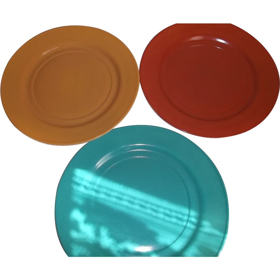 Vintage Hazel-Atlas Glass Ovide Dinner Plates Moderntone Colors Gold Aqua Rust