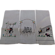 Scotty Dog Tea Hand Towels Linen Embroidered