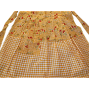 Apron Vintage Yellow Gingham Check Flowers Barbecues Parties Sale!