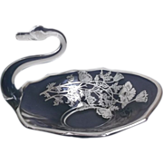 Glass Swan Silver Overlay Bowl Candy Dish with Flowers