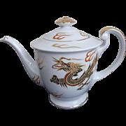 Kutani Tea Pot Hand Painted Gold Dragon Vintage Porcelain