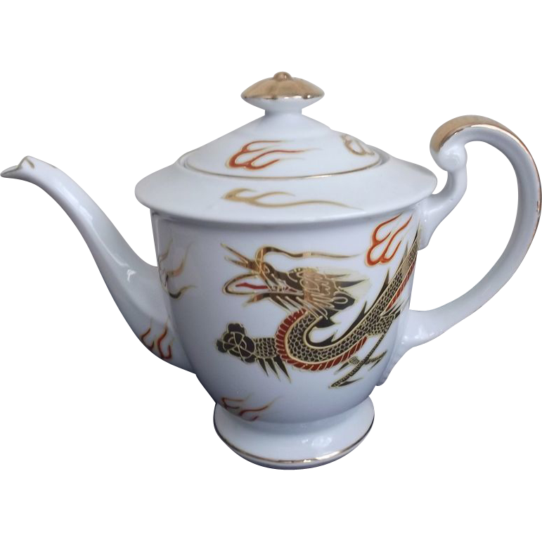 Kutani Tea Pot Hand Painted Gold Dragon Vintage Porcelain