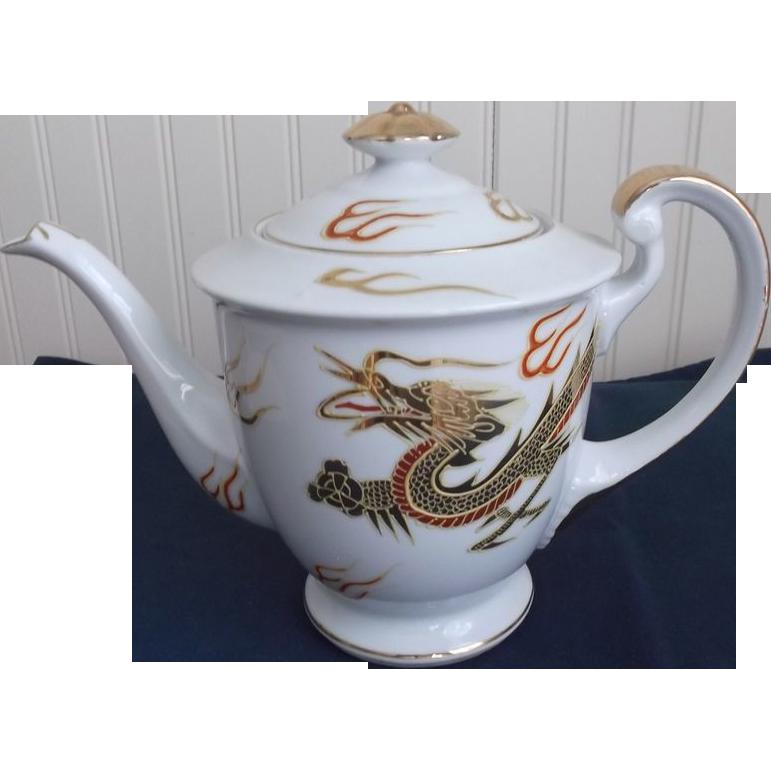 Kutani Tea Pot Gold Dragon Signed Vintage Porcelain Hand-painted