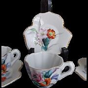 Vintage Porcelain Demitasse  set Japan Wales China Flowers