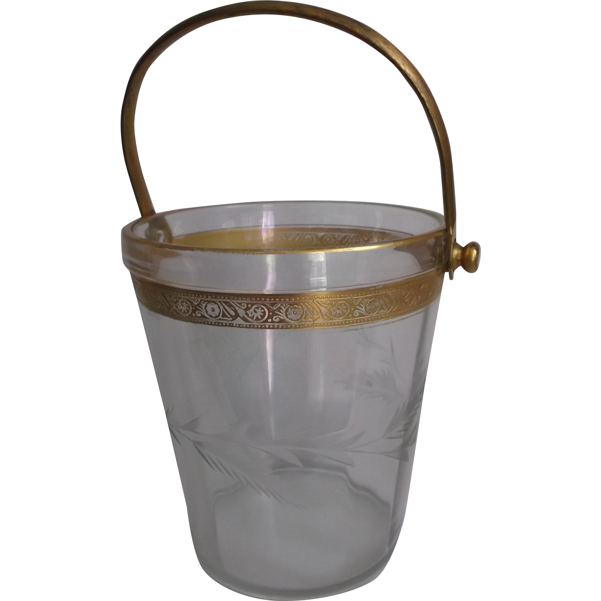 Glass Vintage Ice Bucket Pail Gold Wash Metal Handle Wheat Design