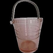 Elegant Pink Depression Glass Ice-Bucket Cut Etched Flowers Metal Handle Vintage Decor