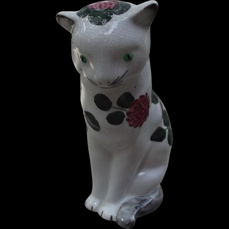 Jan Plichta Clover Cat Bovey Pottery Elton Pottery Wemyss  Vintage Figurine