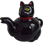 Black Cat Tea Pot Vintage 1950's Red Bow Tie