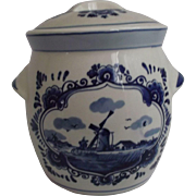 Delft Blue Vintage Handpainted Biscuit Cracker Tea Jar  Kitchen Decor