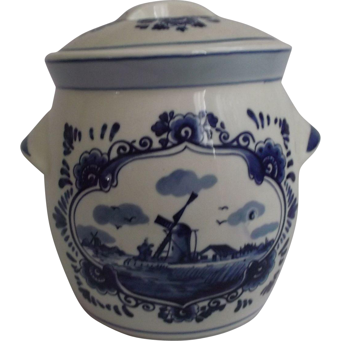 Delft Blue Vintage Handpainted Biscuit Cracker Tea Jar  Kitchen Decor