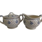 Grindley Sugar Creamer in Tewkesbury Pattern Blue Flowers Dots Kitchenware