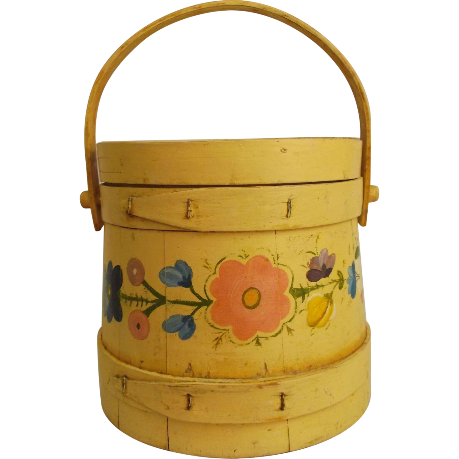 Primitive Yellow Painted Wood Fir Kin Sugar Bucket  Folk Art