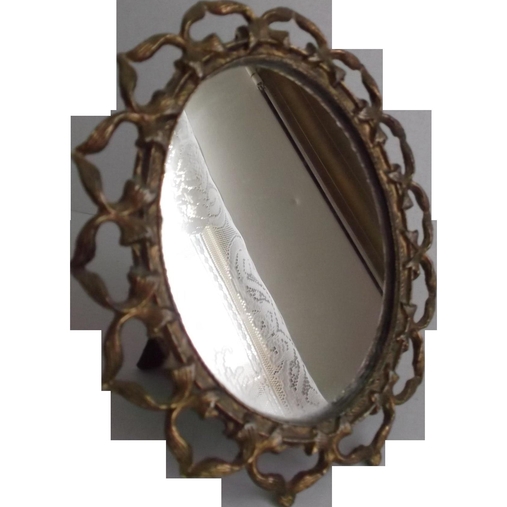 Old Mirror Metal Ribbon Framed Oval Vintage Vanity Dresser Table Sold Ruby Lane