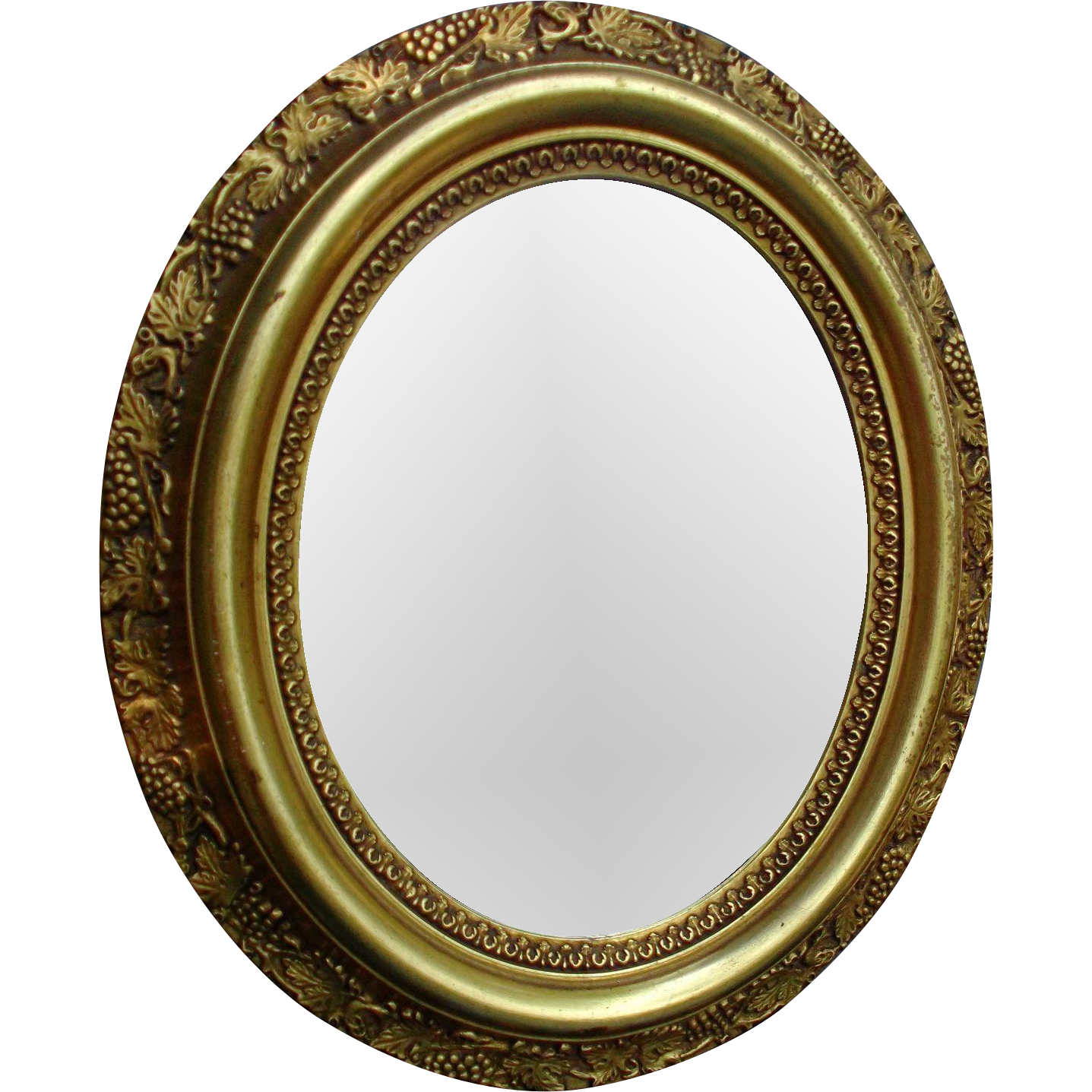 Old Wood Mirror Gold Paint Ormolu Leaves Grapes Home Decor