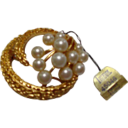 Trifari Framed Cluster Vintage Goldtone Faux Pearl Brooch Pin