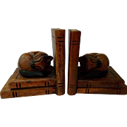 Carved Wood Cat Bookends Vintage Home Decor