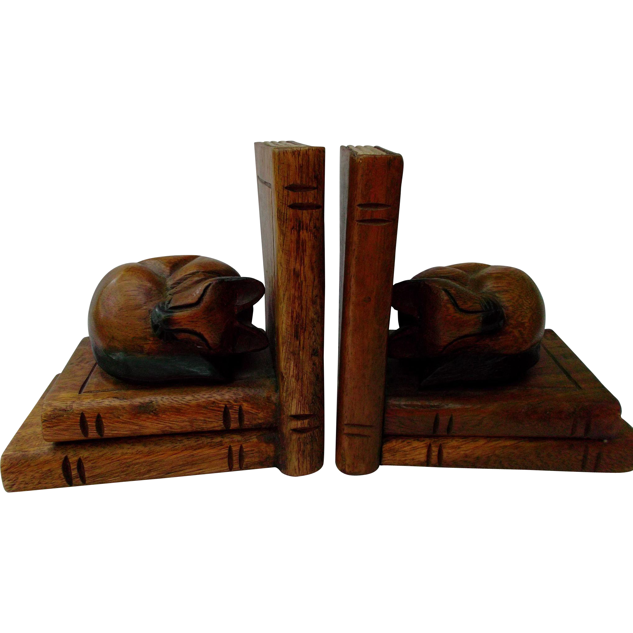 Carved Wood Cat Bookends Vintage Home Decor From