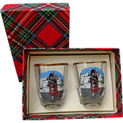 Pair Vintage Shot Glasses Tartan Scottish Bagpipe Players Barware