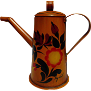 Toleware Coffee Tea Pot Hand-Painted Signed Vintage Home Decor