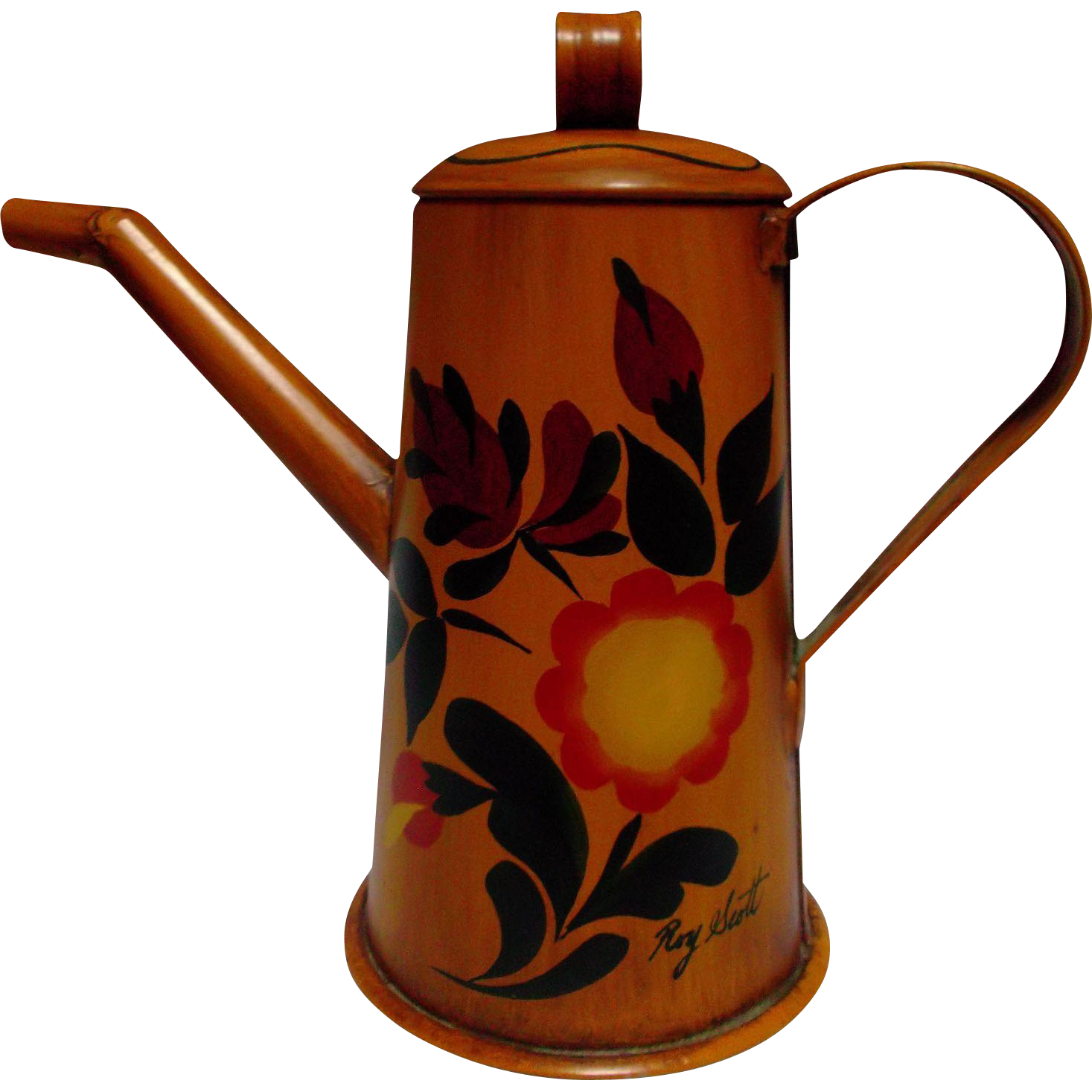 Hand Painted Signed Vintage Tin Toleware Tea Coffee Pot