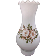 Milk Glass Oil Lamp Chimney Shade with Floral Decal Pie Crust Top
