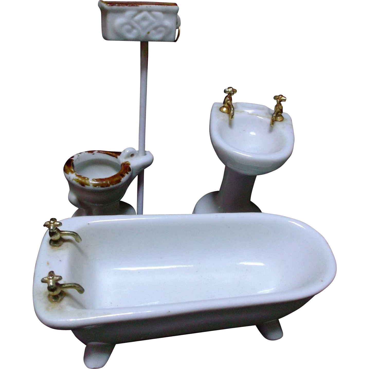 Vintage Porcelain Ceramic Bathroom Fixtures Tub Sink Toilet Doll House Sold On Ruby Lane