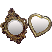 Handmade Italian Small Ormolu Mirrors Heart Scrolls Beads Vintage Home-Decor