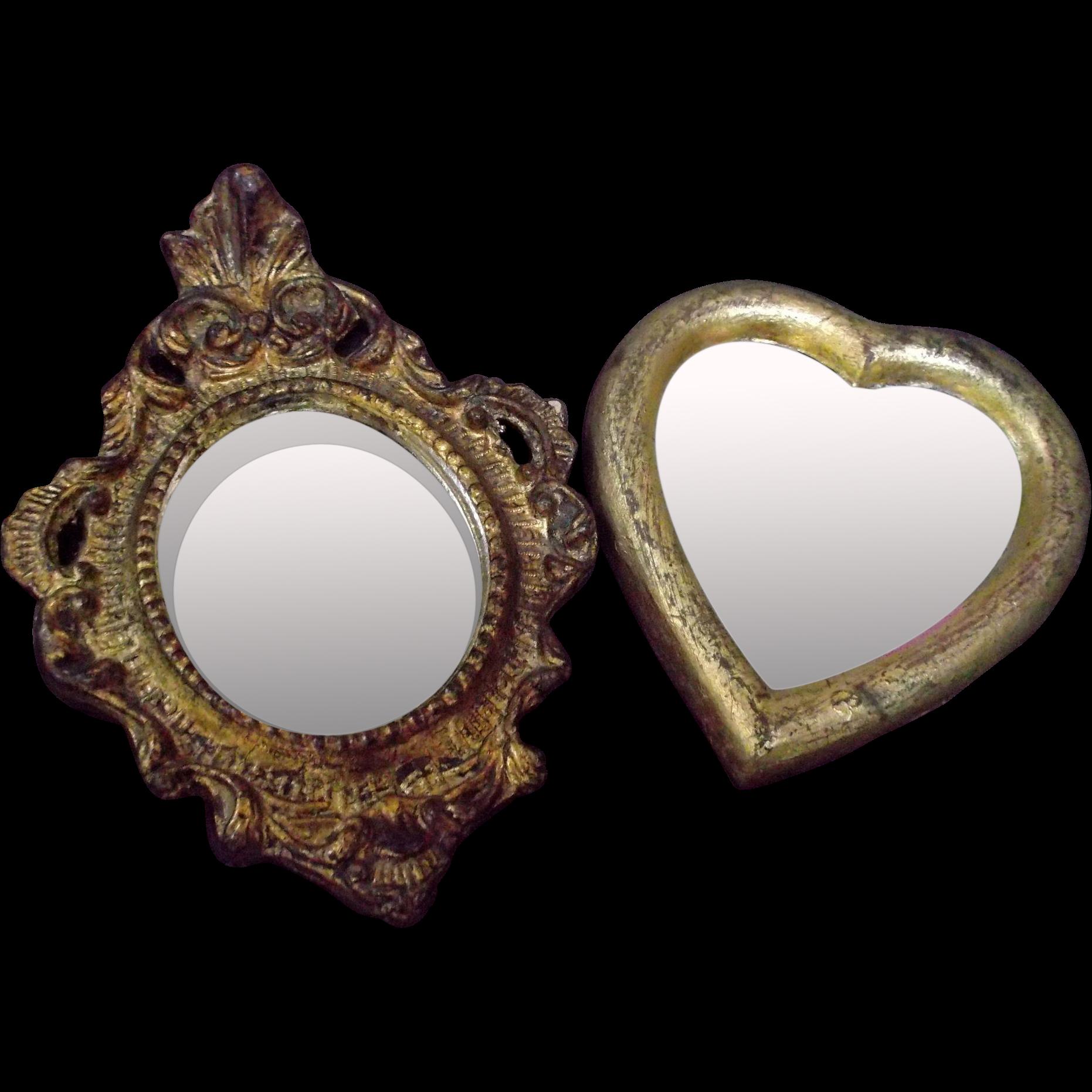 handmade italian small ormolu mirrors heart scrolls beads