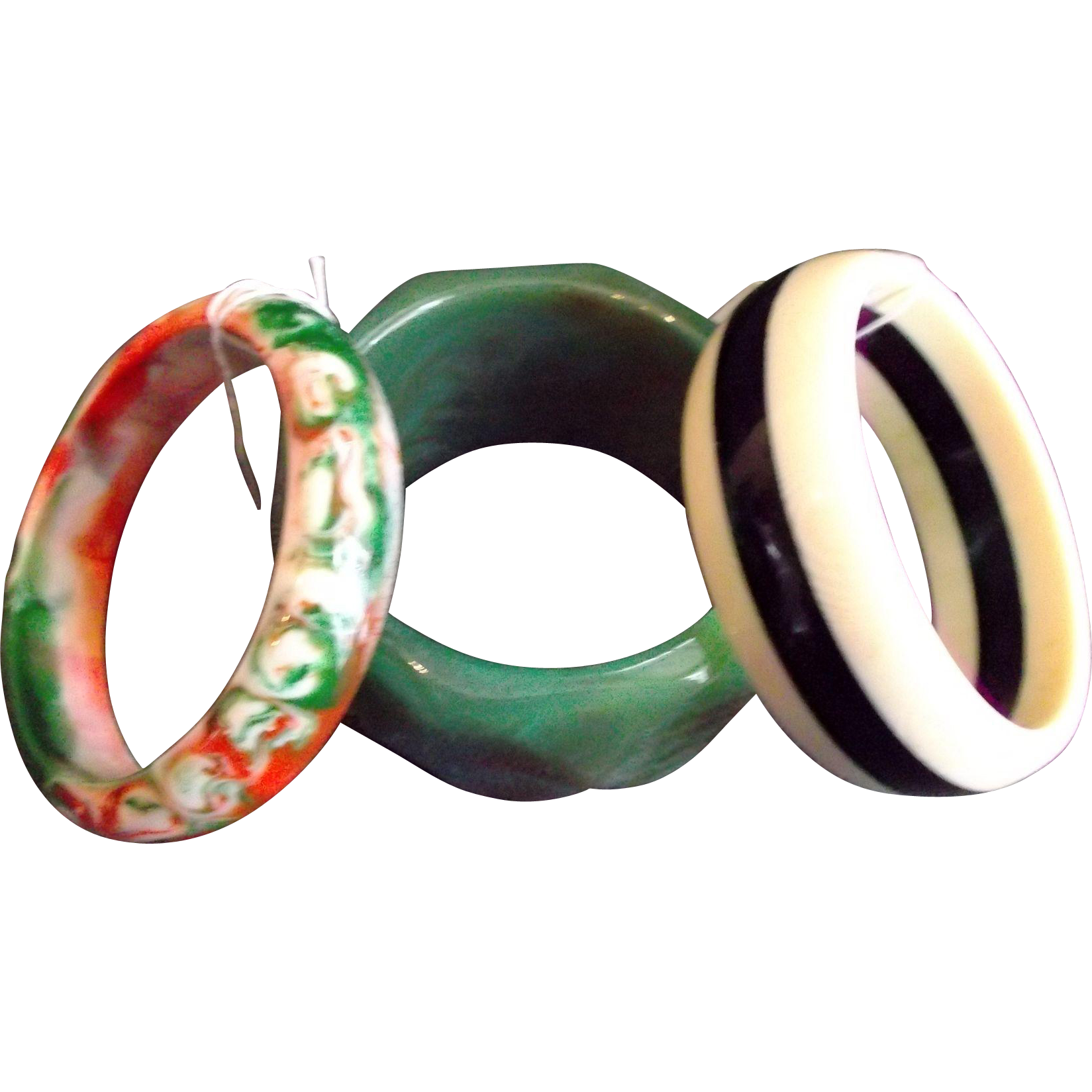 Three Vintage Plastic Lucite Bangles Bracelets Green Cream Orange Black Brown