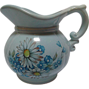 McCoy Pottery Pitcher Circa 1970's  Blue Daisies Morning Glories