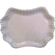 Milk Glass Tray with Oak Leaves Vintage Pin Vanity Serving