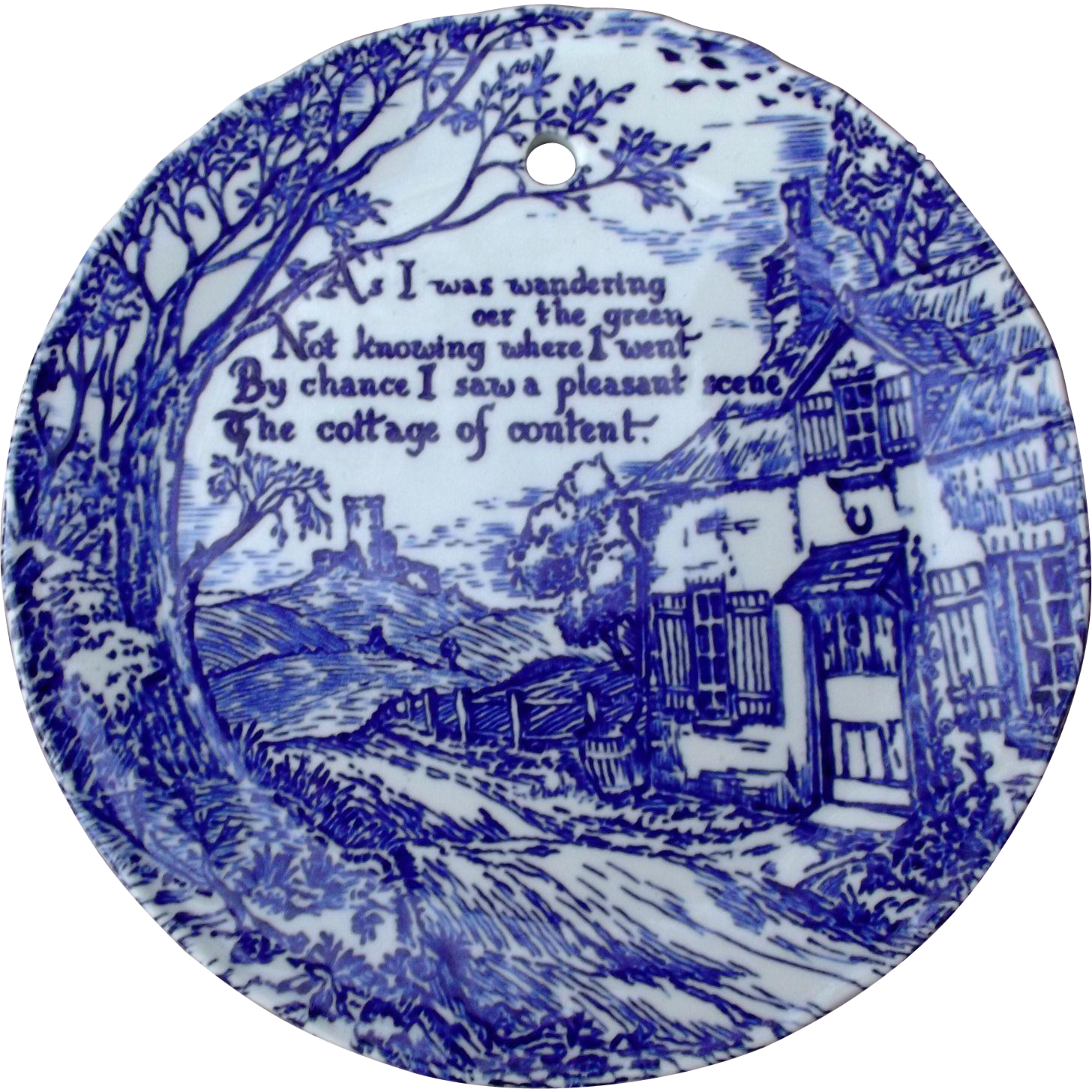 Royal Crownford Ironstone Blue Transfer Plate Cottage Scene Poem