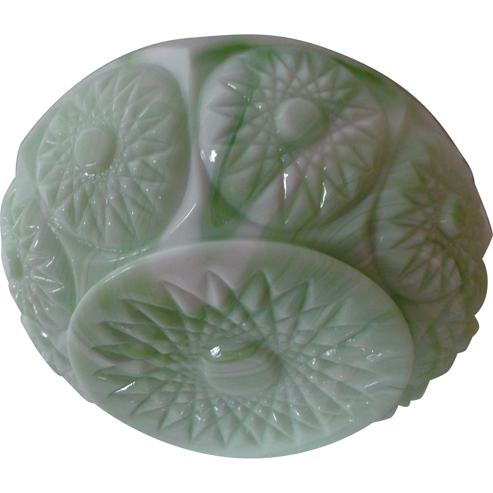 Green White Vintage Slag Glass Rose Bowl Jardiniere Sunburst Starburst
