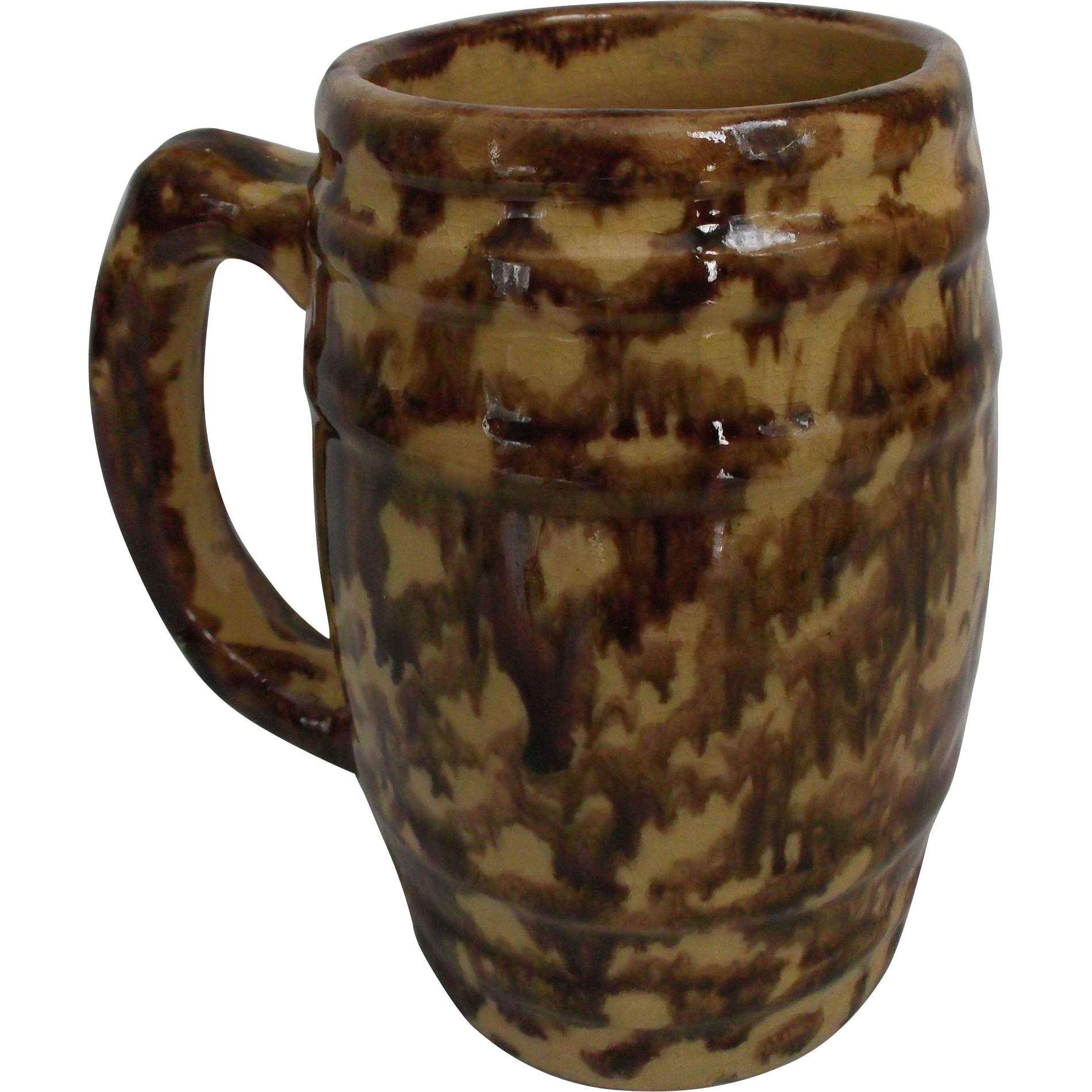 Yellowware Rockingham Bennington Style Glazed Barrel Mug Spongeware