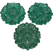 Three Vintage Green Glass Flower Curtain Tiebacks Home Decor