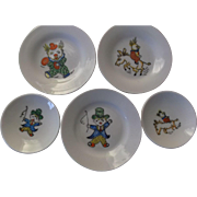 Vintage Porcelain Childrens Circus Plates Ringmaster Clown