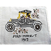 Hand Embroidered Towel Tablecloth Cover Vintage Ford Model-T Linen