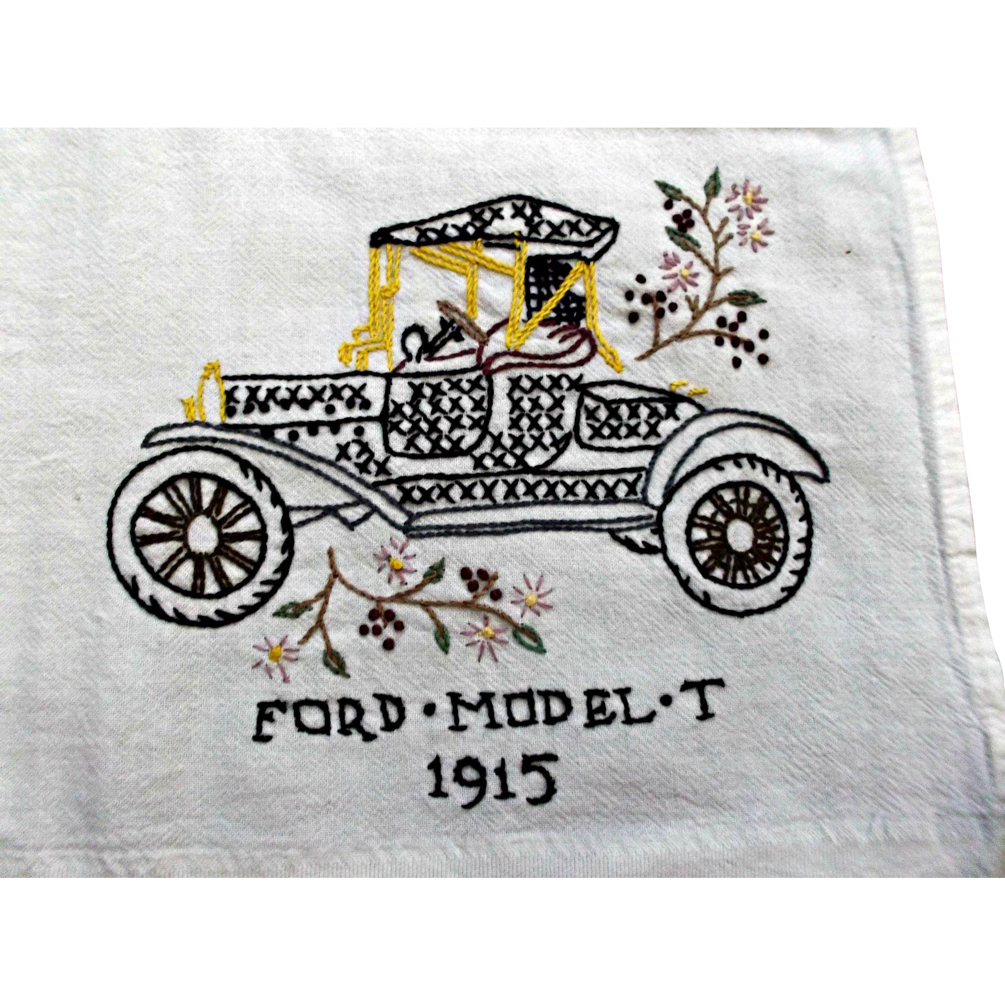 Crown Jewel Bath Set 12 Bath Towels 12 Hand Towels 12: Hand Embroidered Towel Tablecloth Cover Vintage Ford Model