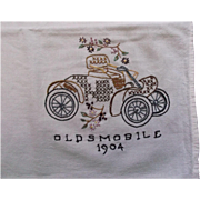Hand Embroidered Towel Tablecloth Cover Vintage 1904 Oldsmobile Car linen