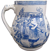 Old Hall Earthenware Mug Girl Blowing Bubbles Blue White Transfer