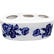 Flow Blue Porcelain Vintage Lipstick Holder Flowers Morning Glories