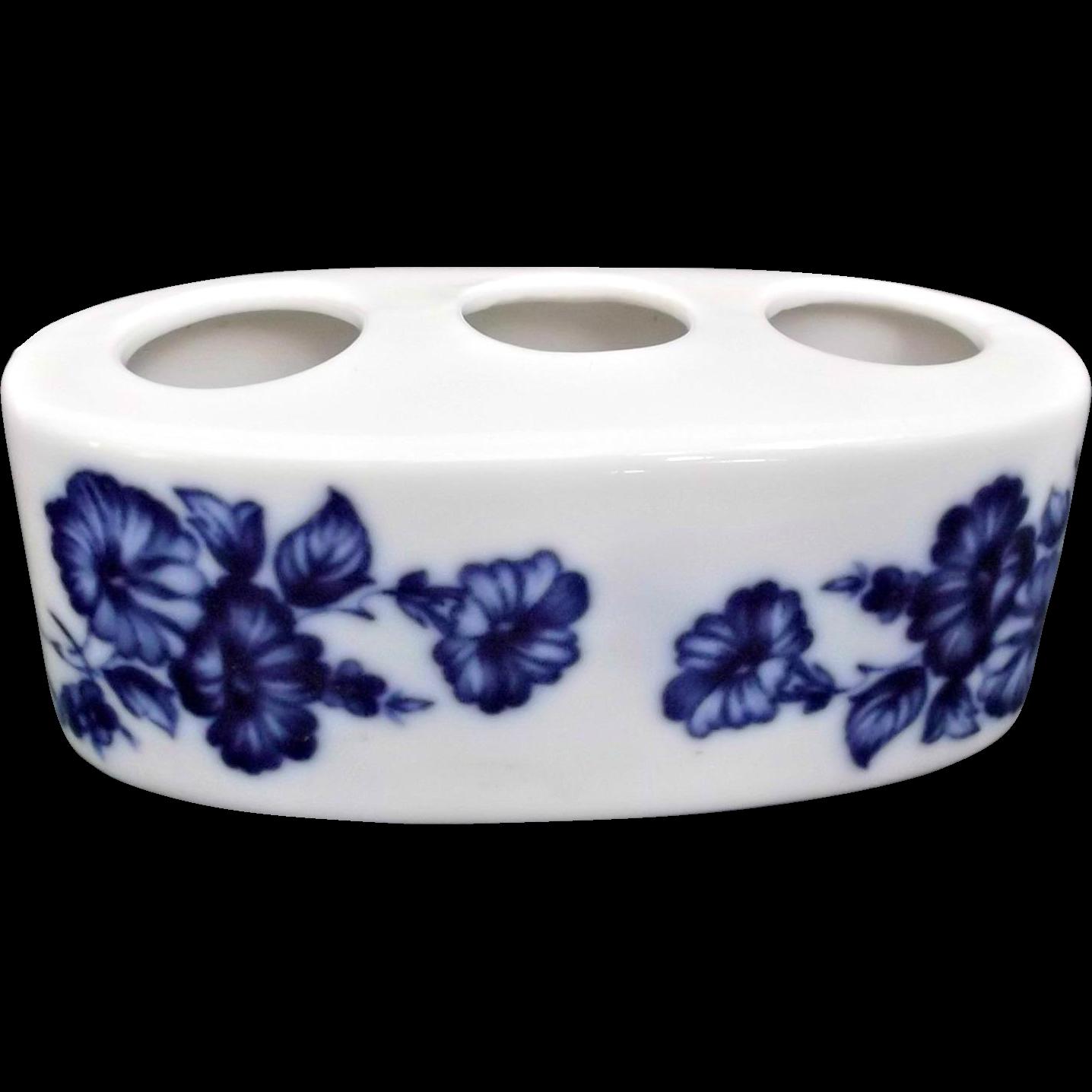 Flow Blue Porcelain Vintage Lipstick Holder Flowers Morning Glories