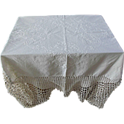 Vintage Linen Hand Embroidered Tablecloth Cover Crochet Edge Flowers