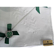 Vintage Irish Linen White Handkerchiefs Two  Original Box
