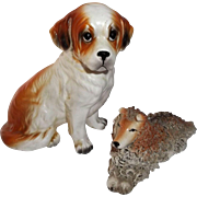 Pair of Dogs St. Bernard and Spaghetti Collie Vintage Figurines